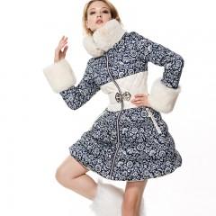 приталенный зимний женский пуховик CLJ,французский дизайн, без капюшона, с натуральным мехом, стеганная высокая талия FU