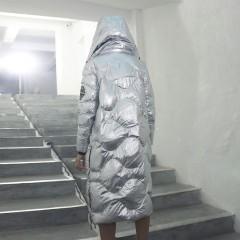 CLJ блестящий космический пуховик женский  удлиненный серебристый металлик черный с капюшоном