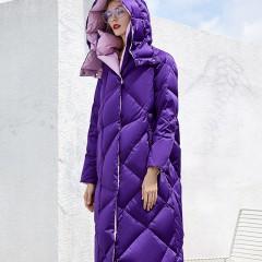 CLJ / RCAT женский зимний длинный воздушный пуховик зефирка фиолетовый черный гусиный пух прямого фасона