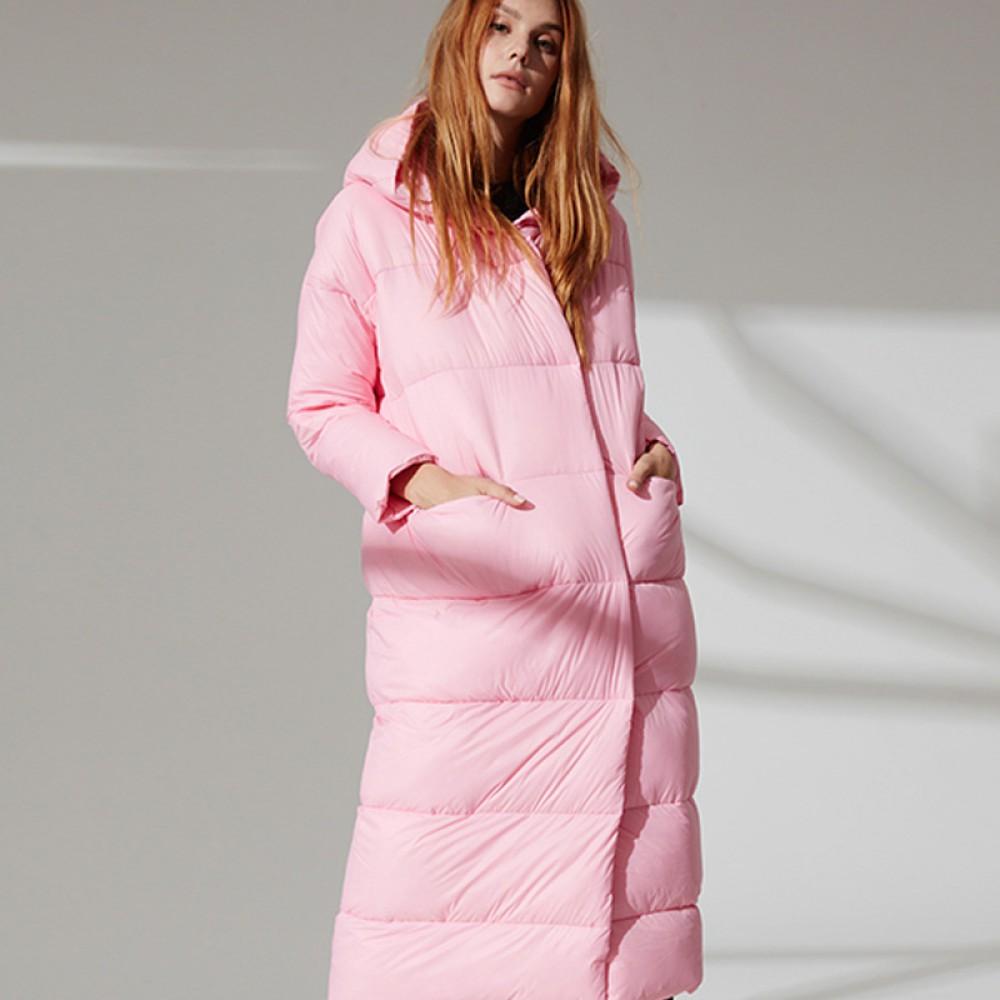 FOLOVERA длинный женский зимний розовый пуховик зефирка длина макси с капюшоном прямой крой свободный кэжуал минимализм