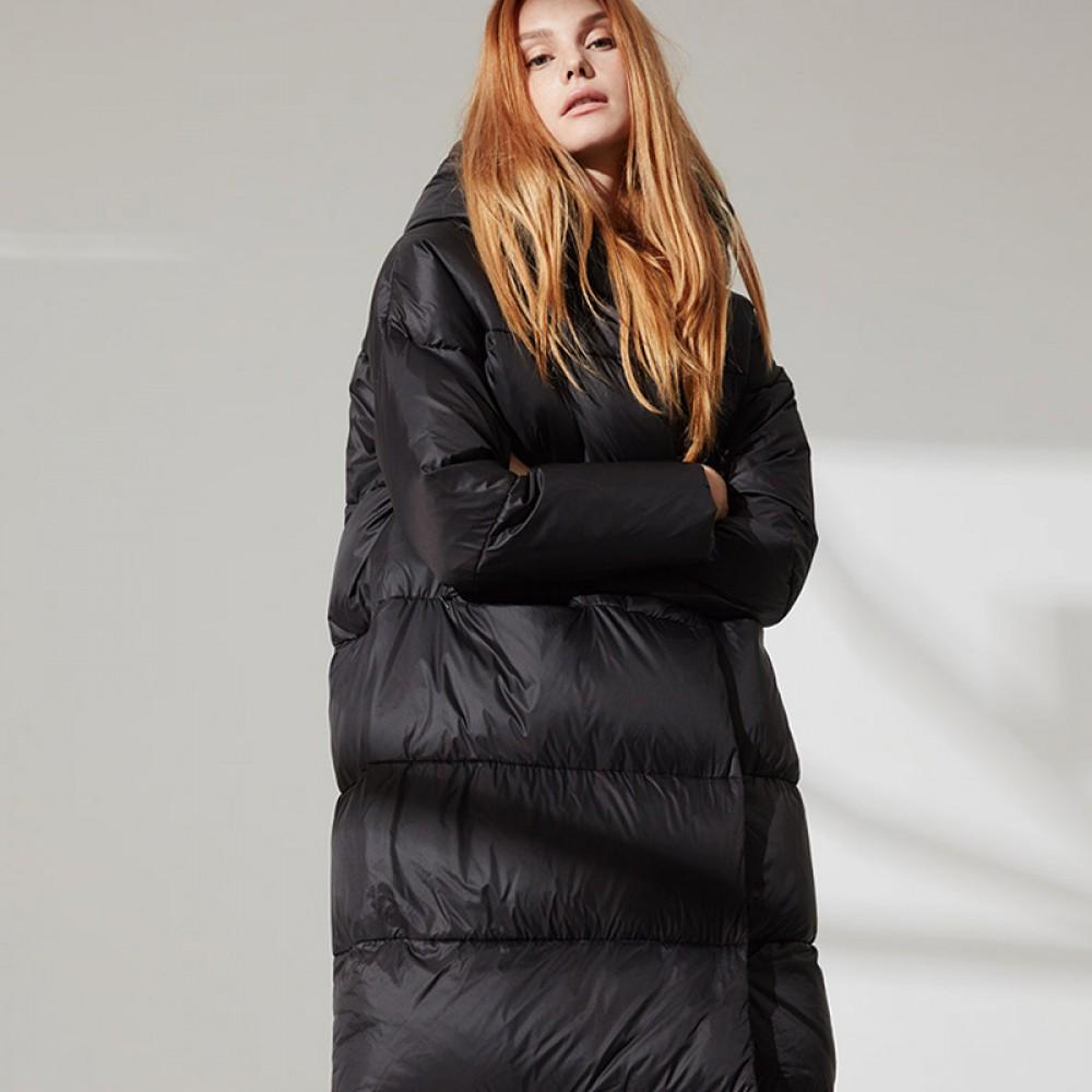 FOLOVERA длинный черный пуховик зефирка женский зимний длина макси с капюшоном прямой крой  Oversize