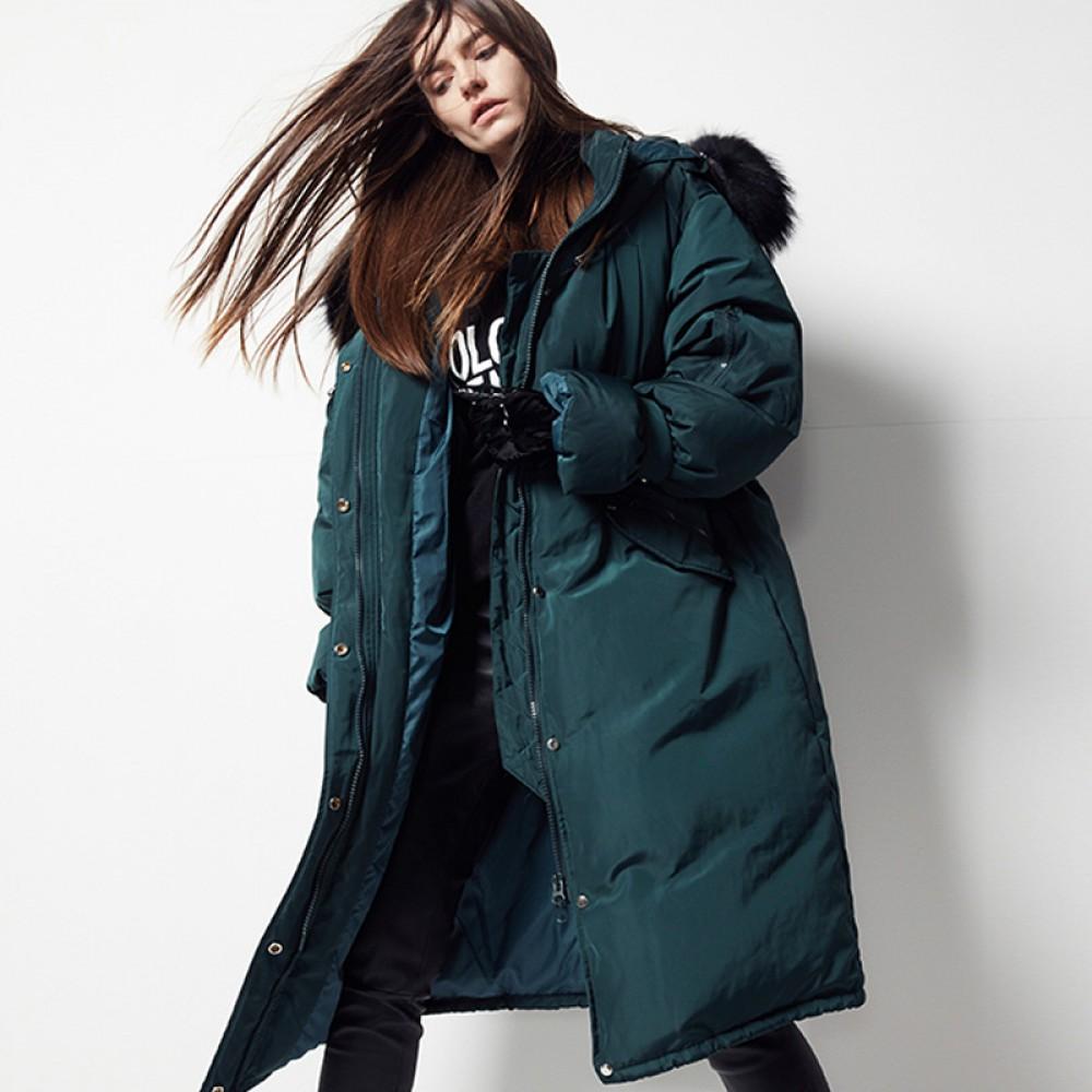 FOLOVERA женский пуховик изумрудный зеленый черный  пуховая пальто парка оверсайз Oversize с мехом на капюшрне