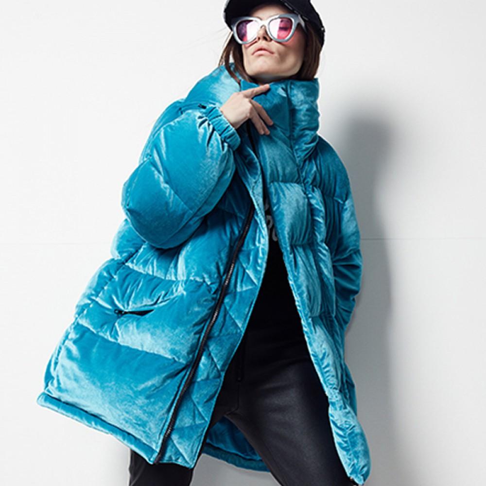 FOLOVERA яркий зимний женский бархатный велюровый пуховик короткий бархатная голубая зефирка гусиный пух