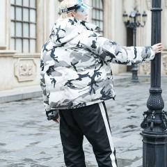 FOLOVERA двусторонний камуфляжный пуховик,короткая пуховая куртка гусиный пух в стиле оверсайз без капюшона с высоким во