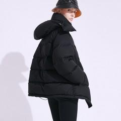 FOLOVERA короткий женский зимний пуховик зефирка красный черный с капюшоном на гусиный пух