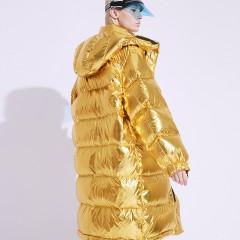 FOLOVERA удлиненный теплый космический блестящий  пуховик красный металлик золотой металлический пуховик оверсайз зефирк