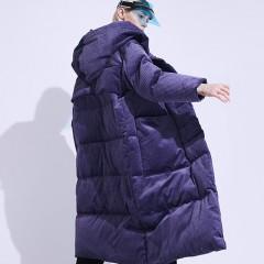 длинное оверсайз вельветовое пуховое пальто теплое гусиный пух фиолетовый лавандовый вельветовый пуховик с капюшоном