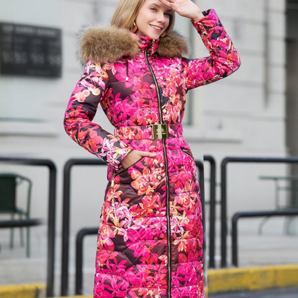ROYALCAT розовые цветы пуховое пальто длинное с меховой отделкой