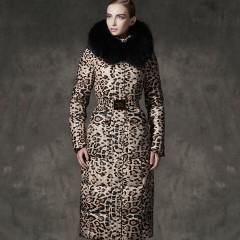 пуховое пальто ROYALCAT NEW зимний женский элегантный качественный длинный пуховик приталенный леопардовый с мехом