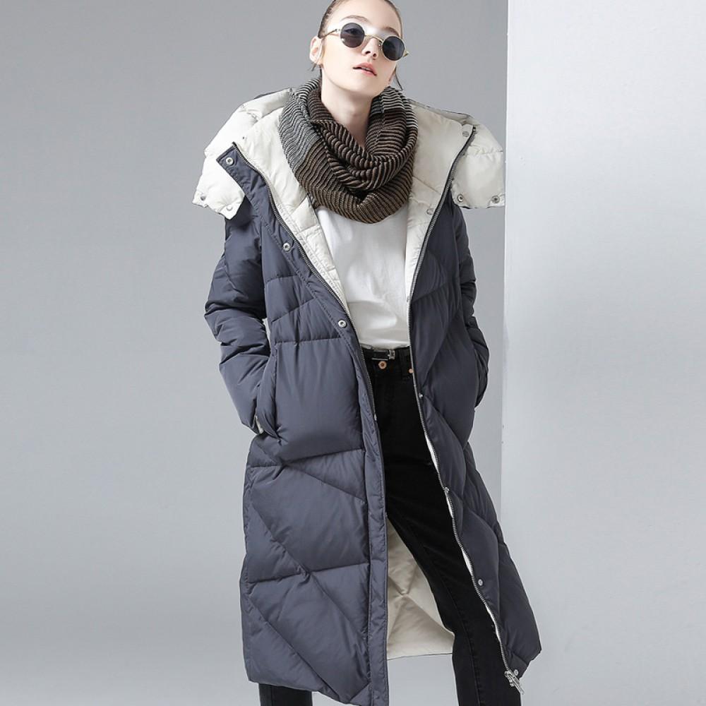 Toyouth женская одежда купить стеганый пуховик, длинная зимняя куртка с капюшоном серый графит черный