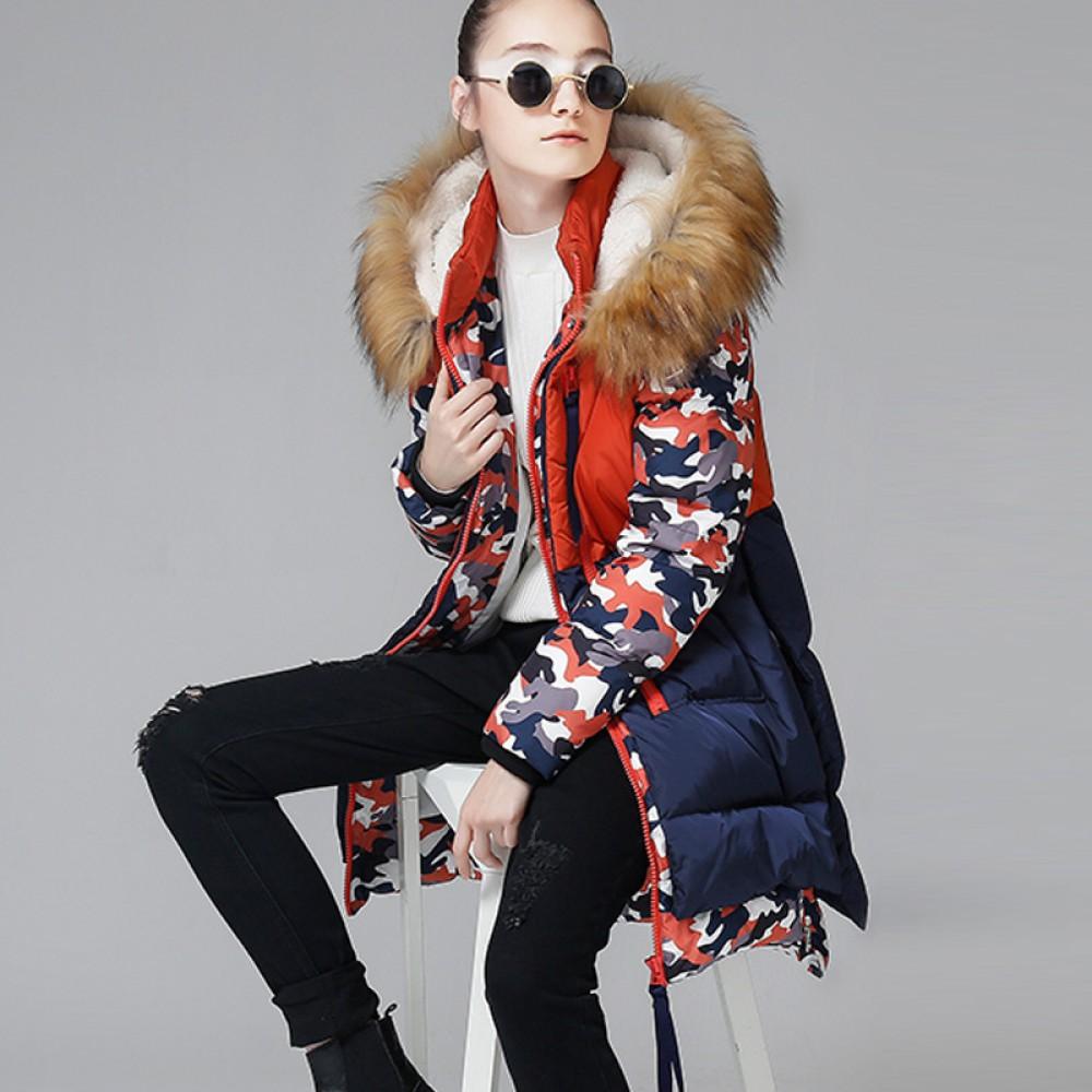 TOYOUTH демисезонная куртка в стиле милитари,многослойный пуховик-парка камуфляж разноцветный