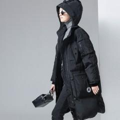 Toyouth женский удлиненный пуховик, дутая куртка на молнии с карманами, капюшоном,вязанными манженами,модный кежл