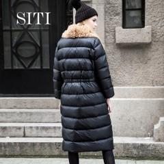 Siti Selected прямой модный зимний пуховик с воротником без капюшона черного цвета минимализм
