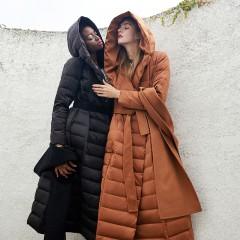CLJ элегантное длинное приталенное пуховое пальто с двойным капюшоном и съемным шерстяным бортиком капюшоном черное кори