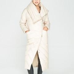 СКИДКА 3DIMENSIONS элегантное женское зимнее пуховое пальто ниже колена с высоким воротником стойкой косой застежкой мол