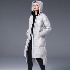 3DIMENSIONS пуховик с сеткой сверху зимний женский ниже колена с капюшоном без меха белый и голубой купить