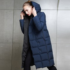 СКИДКА купить черный зимний женский пуховик классический удлиненный с капюшоном без меха теплый пуховик 3DIMENSIONS