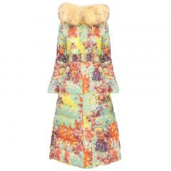 женский длинный теплый пуховик пальто с цветочным принтом приталенный яркий с капюшоном и мехом фабричное качество