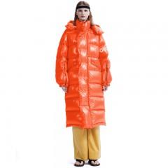 Folovera женский теплый зимний длинный пуховик оверсайз синий красный черный оранжевый с капюшоном